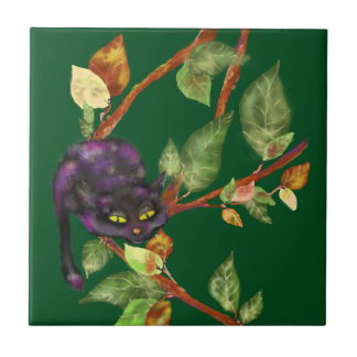 Cat on a branch small square tile