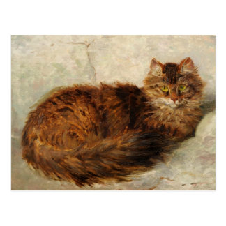 Cat on a Cushion by Henriette Ronner-Knip Postcard