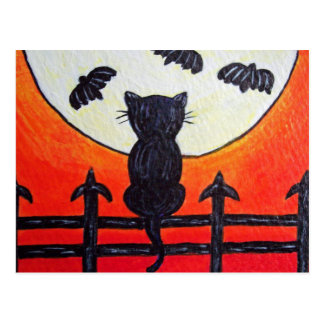 Cat On a Fence In The Moon Bats Postcard