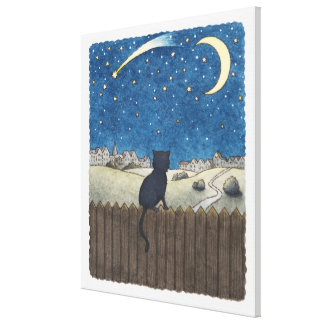 Cat on a fence looking at night sky above city canvas print