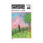 Cat on a fence Watercolor Painting  Stamp
