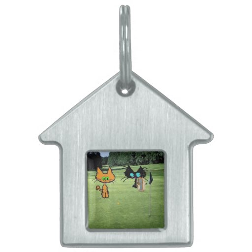 Cat On A Golf golf Course Pet Name Tag
