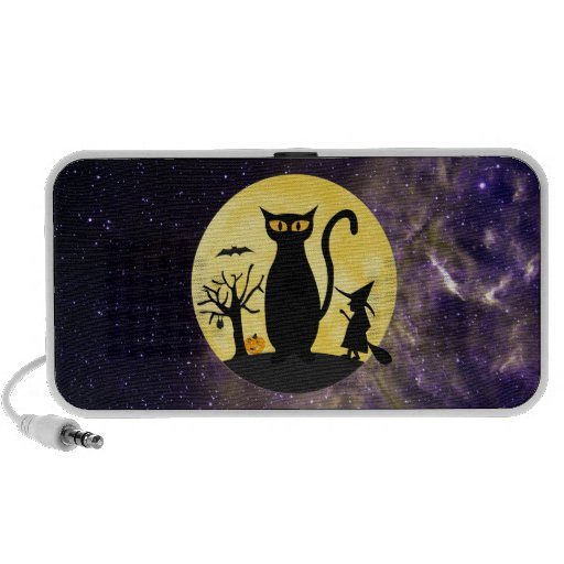 Cat on a Halloween Moon Doodle Speaker