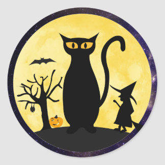 Cat on a Halloween Moon Envelope Seal Stickers