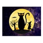Cat on a Halloween Moon Postcard