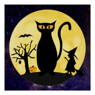 Cat on a Halloween Moon Poster Print