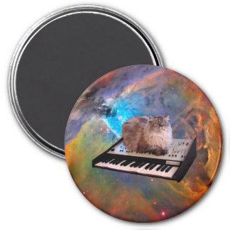 Cat on a Keyboard in Space 3 Inch Round Magnet