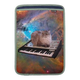 Cat on a Keyboard in Space MacBook Air Sleeves