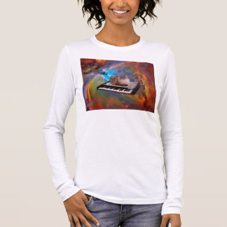 Cat on a Keyboard in Space Long Sleeve T-Shirt