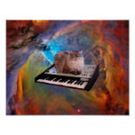 Cat on a Keyboard in Space Poster