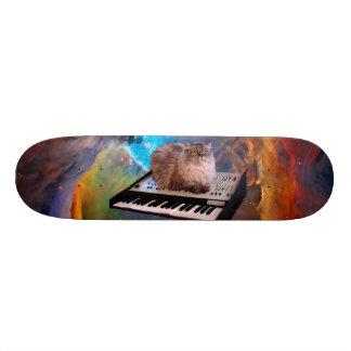 Cat on a Keyboard in Space Skateboard Deck