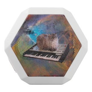 Cat on a Keyboard in Space White Bluetooth Speaker