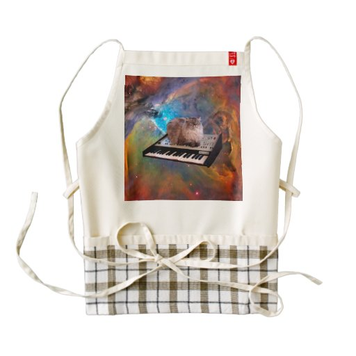 Cat on a Keyboard in Space Zazzle HEART Apron