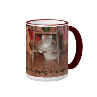 Cat on a ladder mug