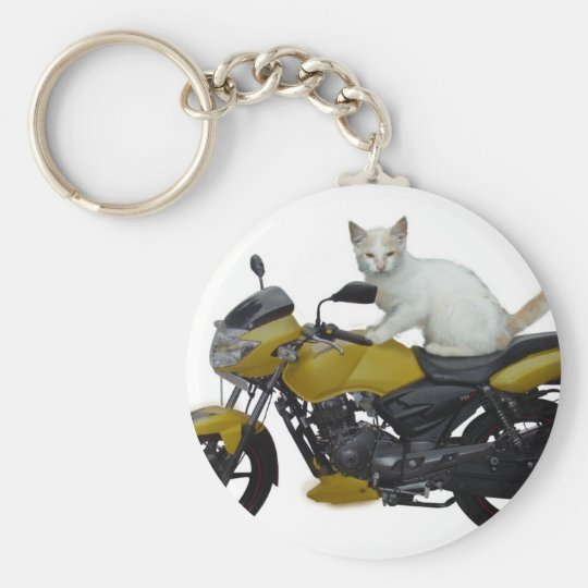 Cat on a Motorcycle keychain