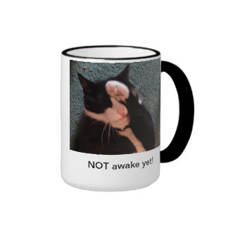 Cat on a mug who doesn't want to wake up yet