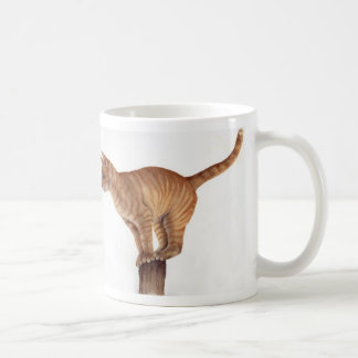 """Cat on a post with """"Cats were once Gods"""" proverb Classic White Coffee Mug"""