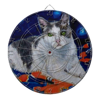 Cat on a Quilt Dartboard With Darts