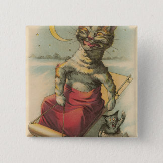 Cat on a Sled Pinback Button