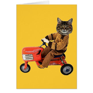 Cat On A Tractor Greeting Card
