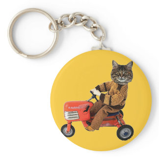 Cat On A Tractor Keychain