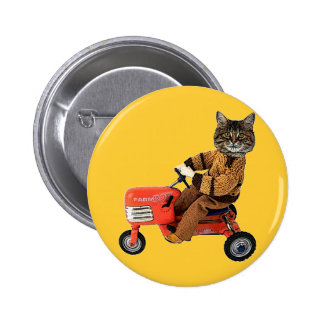 Cat On A Tractor Pinback Button