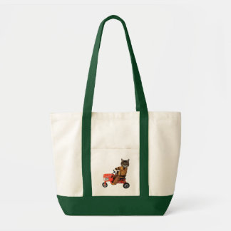 Cat On A Tractor Tote Bag