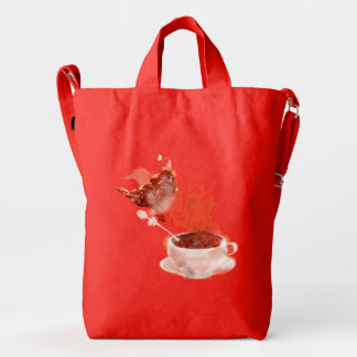 Cat on a tree and coffee dragon. Mix Duck Canvas Bag