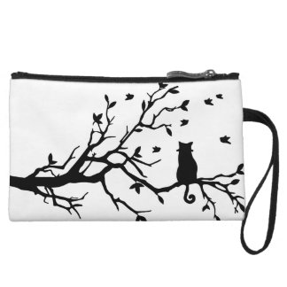 Cat on a tree - Silhouette Wristlet Wallet