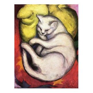 Cat on a Yellow Cushion Postcard