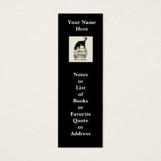 Cat on Books Mini Bookmark to Customize Mini Business Card
