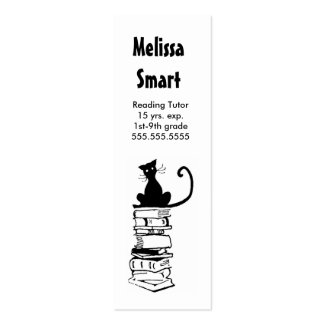 Cat on Books Skinny Business Card Teacher Tutor