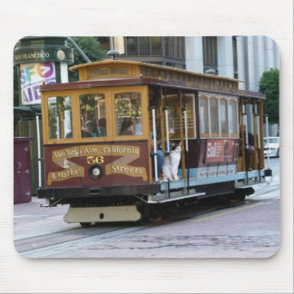 Cat On Cable Car Mouse Pad