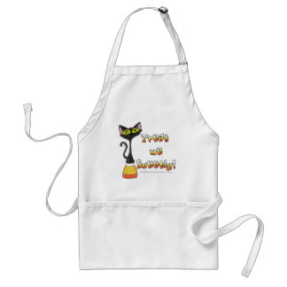 Cat on Candy Corn Treat Me Sweetly! Adult Apron