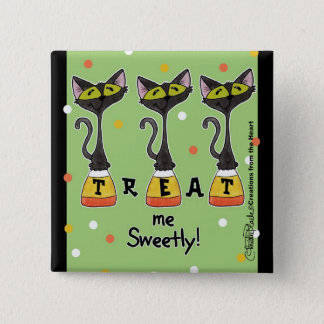 Cat on Candy Corn Treat Me Sweetly-Green Button