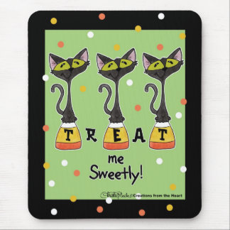 Cat on Candy Corn Treat Me Sweetly-Green Mouse Pad