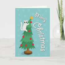 Cat on Christmas tree Card