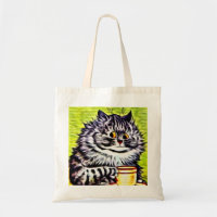 Louis Wain Thinking Cat Cotton Shopping Bag With Gusset Choice of Cols.