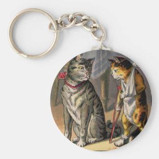 Cat on Crutches Basic Round Button Keychain
