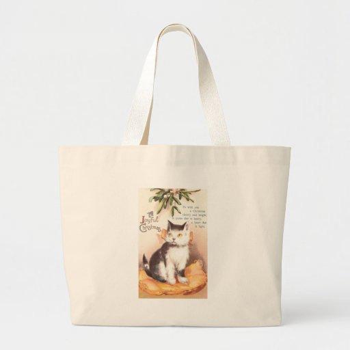 Cat on Cushion 'Neath Mistletoe Vintage Christmas Jumbo Tote Bag
