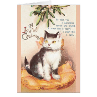 Cat on Cushion 'Neath Mistletoe Vintage Christmas Card