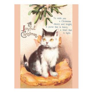 Cat on Cushion 'Neath Mistletoe Vintage Christmas Postcard