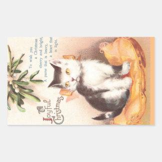 Cat on Cushion 'Neath Mistletoe Vintage Christmas Rectangular Sticker
