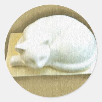 Cat on Gold Box II Classic Round Sticker