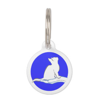 Cat on hand, text, blue circle pet tag