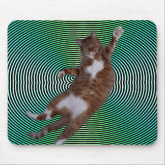 Cat on Hypnotic Background Mouse Pad
