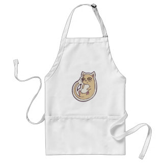 Cat On Its Back Cute White Belly Drawing Design Adult Apron