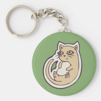 Cat On Its Back Cute White Belly Drawing Design Basic Round Button Keychain