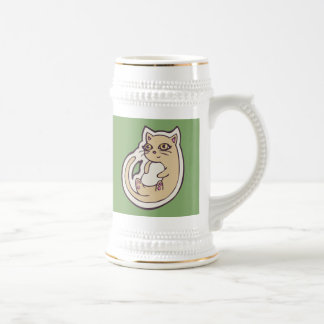 Cat On Its Back Cute White Belly Drawing Design Beer Stein