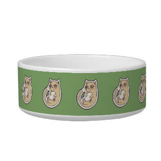 Cat On Its Back Cute White Belly Drawing Design Bowl